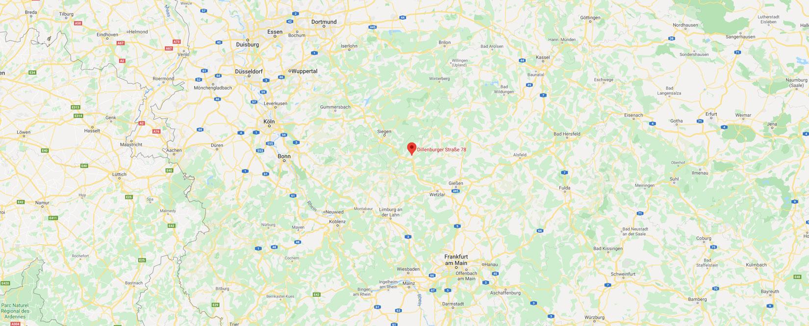 Karte mit Pin auf Dillenburg