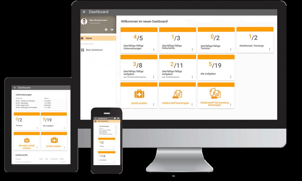 Dashboard von eplas auf Desktop, Tablet und Handy